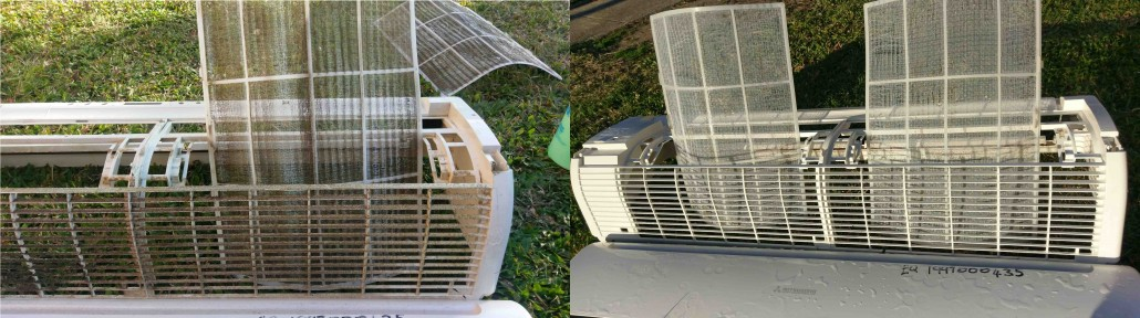 Air Conditioning Cleaning - Before and after an air conditioning clean