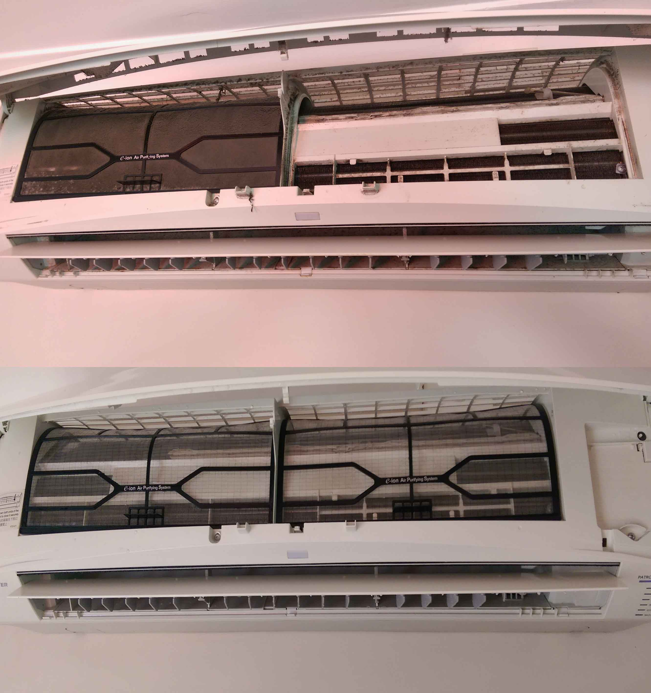 Air Conditioning Cleaning - before and after